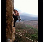 Rock Climbing Photo: Myself gettin through the crux of Karmic Relief. 5...
