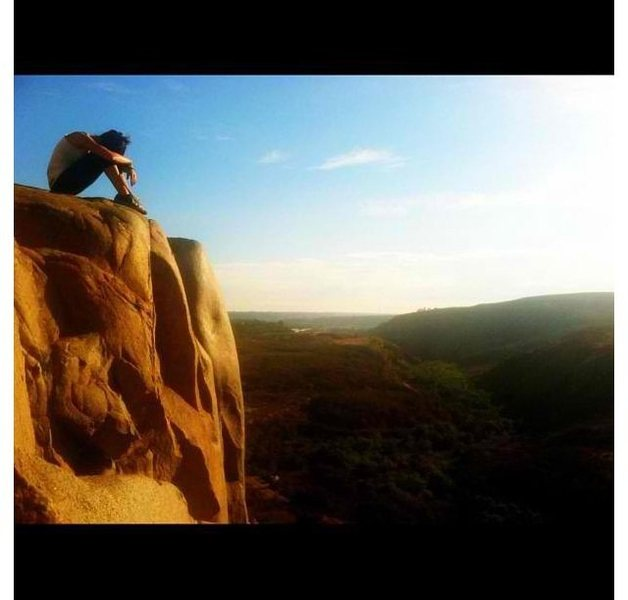 Rock Climbing Photo: My girlfriend Nicole Marcos sitting atop Lunch Roc...