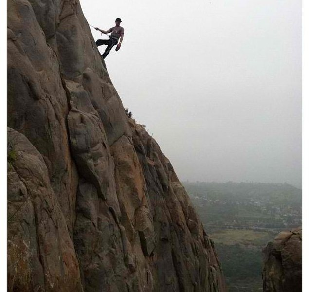 Rock Climbing Photo: Enjoying the view on my first top rope outside eve...