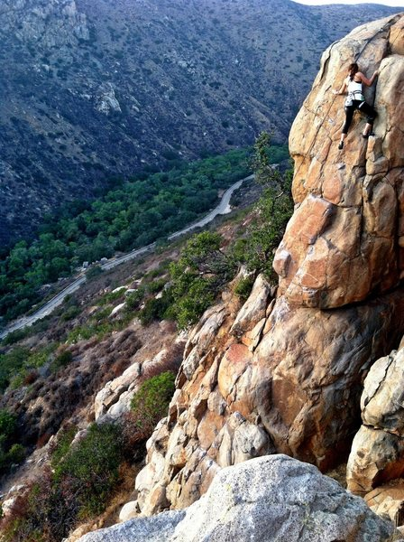 Me. The Tower. Sport. 5.7. Really easy climb. One hard move at the crux that I find fun and exciting.