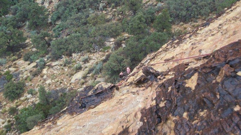 Rock Climbing Photo: Dale king following Gold Digger. November 2011.