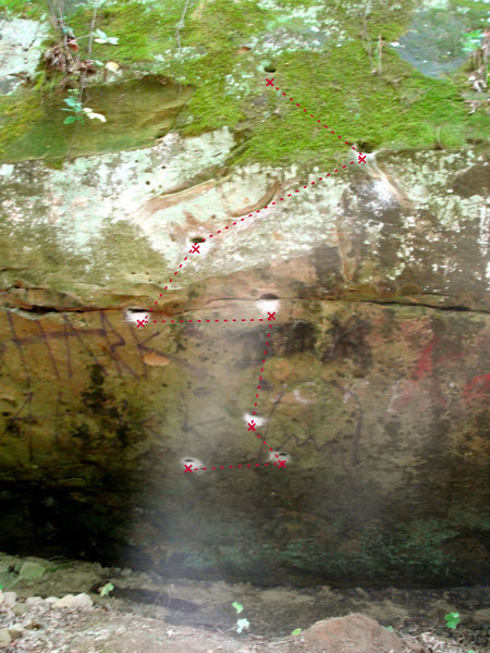 Rock Climbing Photo: beta on photo. All the moss in the photo is no lon...