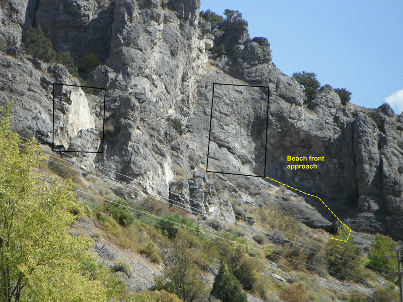 both walls. the split rock on the left and the cave and the cave approach on the right.