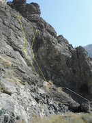 Rock Climbing Photo: the far wall and its two routes and approach