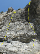 Rock Climbing Photo: The left route of the two. above the dirt road and...