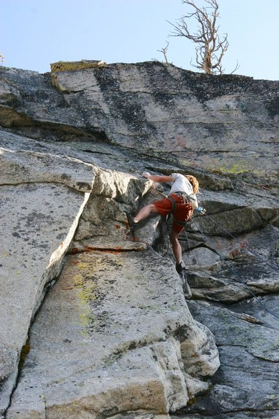 Pulling the crux moves on the FA of Sirocco.