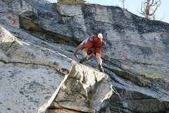 Rock Climbing Photo: Moving up the slab after the crux.