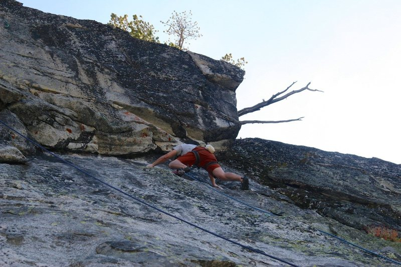 Rock Climbing Photo: Starting the crux moves with a nice palm down hold...