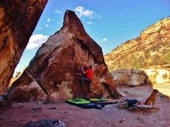 Rock Climbing Photo: The start to Spiffy Black Boots problem on Divide ...