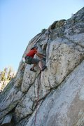 Rock Climbing Photo: Mid crux pulling into the hanging groove on the FA...