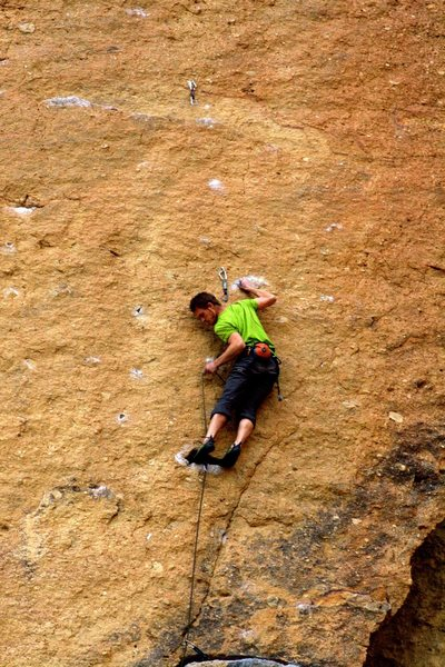 Clipping the first bolt above Karate Crack. Photo by Shay Skinner