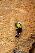 Rock Climbing Photo: Clipping the first bolt above Karate Crack. Photo ...