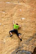 Rock Climbing Photo: Moving to the first bolt. #4 camalot in the big po...