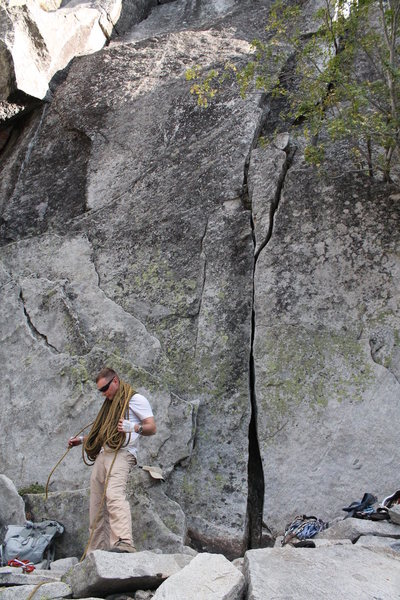 Rock Climbing Photo: Jeff at the base, 10a thin hands start featured.
