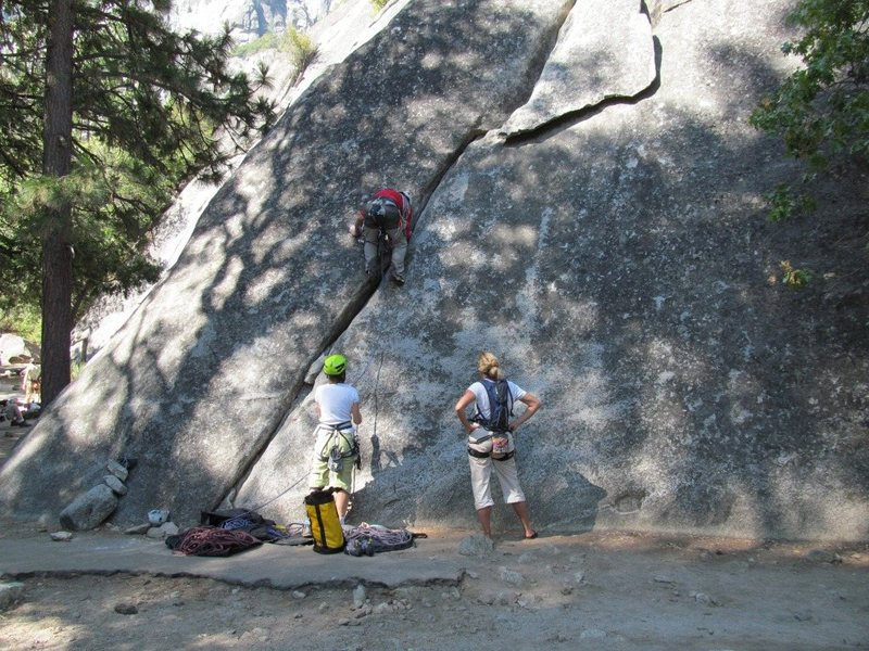 Climbers on Hanging Flake Route.