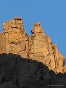 Rock Climbing Photo: The twin summits of Noname Needle.