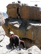 Rock Climbing Photo: Cresting the shelf below the summit boulder.