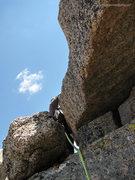 Rock Climbing Photo: Gaining the summit block; a huge, flat capstone.