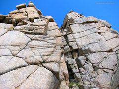 Rock Climbing Photo: Rap the weakness between the twin summits.