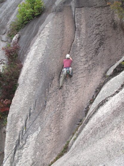 A climber on P2 of Trail of Tears.<br> Photo by Tom Bowker