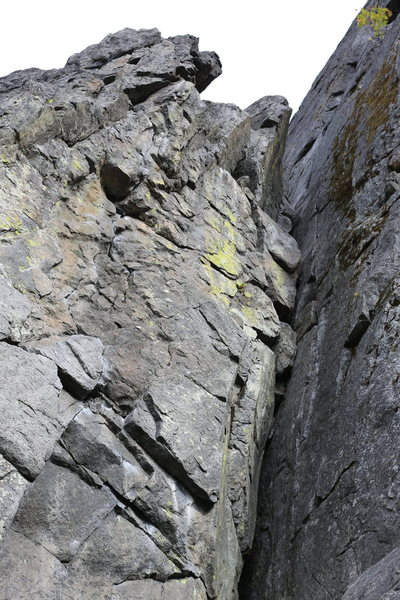 Rock Climbing Photo: The first pitch of Midway (5.5) starts in the corn...