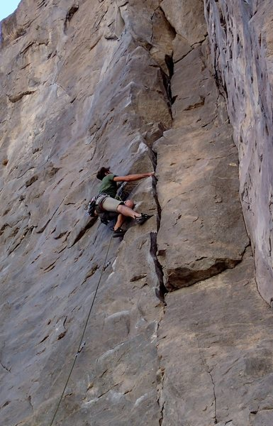 "Rock Climbing Photo: Ted Frelke working up the ""steps"""