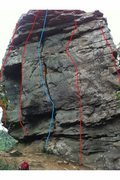 Rock Climbing Photo: Face of Titanic boulder. From left to right is Shi...