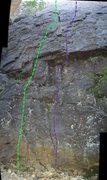 Rock Climbing Photo: Middle of Right Wing Wall: Green - Yucca Flats Pur...