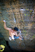 Rock Climbing Photo: Josh Knapp of the HWDAMF getting bionic on Whiskey...