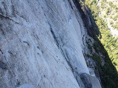 Rock Climbing Photo: Looking down on Pitch 6 with all the bolts clipped...