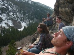 Rock Climbing Photo: Chillin after we scaled the rock wall. Free solo!