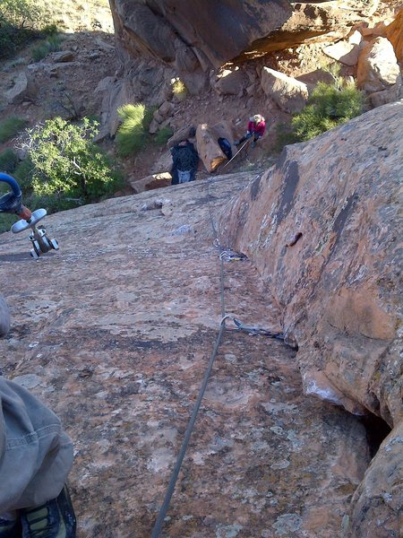 "Rock Climbing Photo: Looking down ""ker-THUD"" from the anchors"