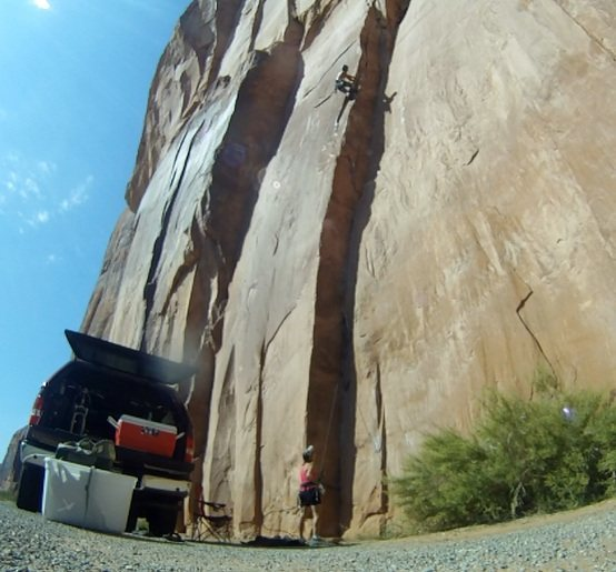 """Nearing the top-out on """"AstroLad"""" Moab Wall Street Area"""
