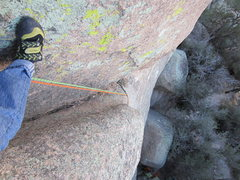 Rock Climbing Photo: Looking down from the groove midway up pitch 1