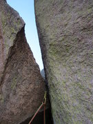 Rock Climbing Photo: Pitch 2: the gnarly offwidth mantle