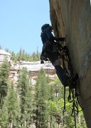 Rock Climbing Photo: Angela aiding the Twist of Fate. Yeah, its that st...