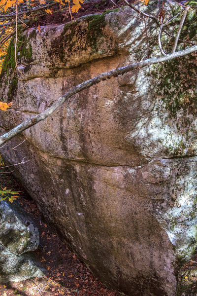 Rock Climbing Photo: Nic-o-rete Boulder.  No Mas begins on the far left...