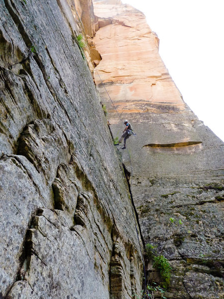 Rock Climbing Photo: The Knarz on rappel... I believe this is Teddy Bea...
