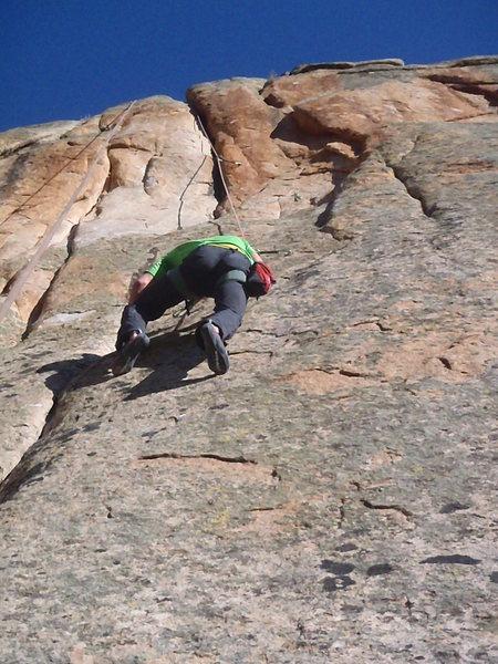 Thin face climbing.