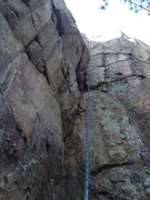 Rock Climbing Photo: Overhanging wall at left is Mr. Lucky.  Center cra...