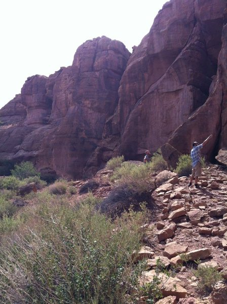 Rock Climbing Photo: checking out the rock --- greenhorn canyon