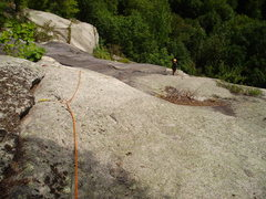 Rock Climbing Photo: Looking down from the pine tree belay to Pitch Thr...