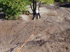 Rock Climbing Photo: Matt Peer on the crux overlap P4 Eminent Domain.