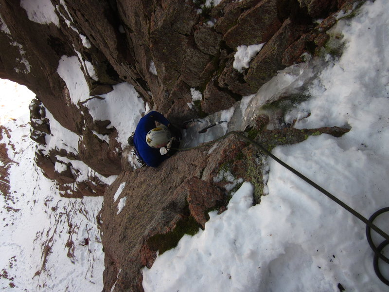 """Mixed climbing on """"Toga Party""""."""