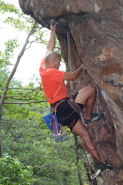 Middle Finger Backside<br> <br> Pick-A-Dilly Prow(5.11)trad<br> <br> Crowders Mountain State Park, North Carolina