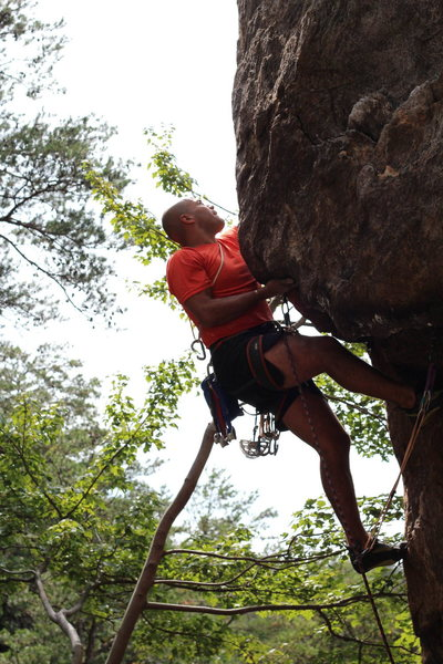 Middle Finger Backside<br> <br> Pick-A-Dilly Prow (5.11)trad<br> <br> Crowders Mountain State Park, North Carolina