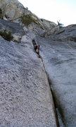 Rock Climbing Photo: Alternate start: left side splitter crack and sque...
