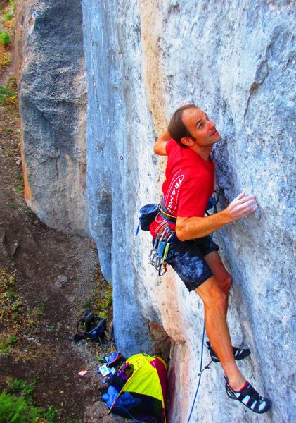 Gunning for a big pocket above the opening mono boulder problem.
