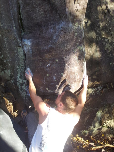 Rock Climbing Photo: Vinny on the start of the Wizard.