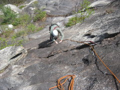 Rock Climbing Photo: Matt Peer following pitch three (5.9)Trail of Tear...